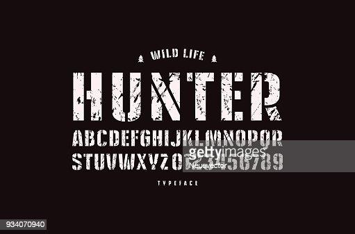 Original stencil-plate sans serif font : stock vector