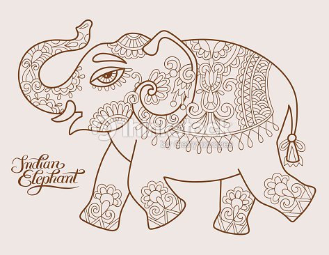 stylis s dorigine ethnique motif l phant indien dessin et han clipart vectoriel thinkstock. Black Bedroom Furniture Sets. Home Design Ideas