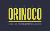 Orinoko condensed bold san serif vector font, alphabet, typeface, uppercase letters and numbers.