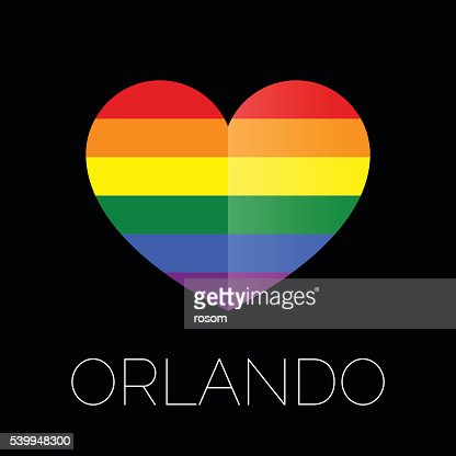Orlando tragedy. Gay colors heart shape on black background. : Vector Art