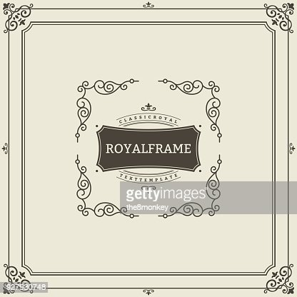 Ornament design invitation template. Vector flourishes calligraphic vintage frame. Good for Luxury, boutique brand, wedding shop, hotel sign : Arte vettoriale