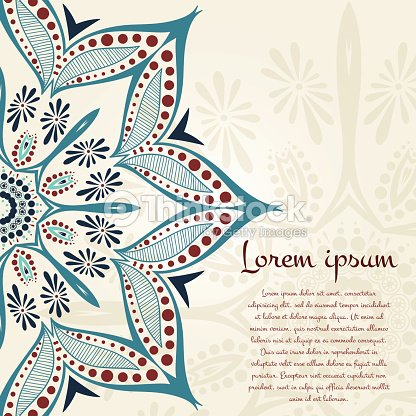 Ornament In Beautiful Vintage Colors Flower Circular Background ...