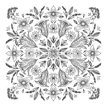 Ornamento Redondo Mandala Ilustración De Vector De Doodle De Blanco ...