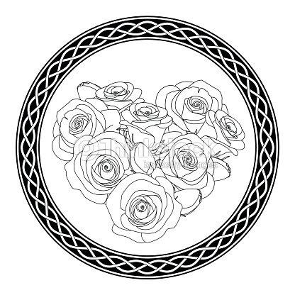 Celta Adorno Con Motivo Y Rosas Antiestrés Página Para Colorear Arte ...