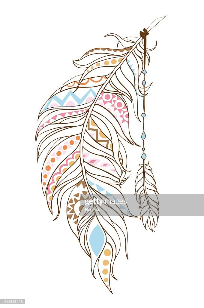 Ornamental ethnic feathers in the patterns : Vector Art