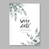 Vector illustration of beautiful invitation postcard with simple floral print.
