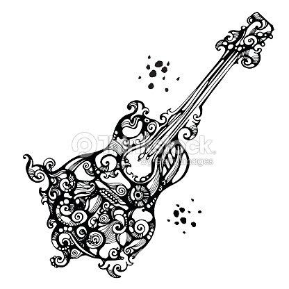 Decores Dans Le Style De Tatouage De La Guitare Acoustique Clipart