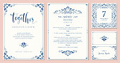 Ornate wedding invitation, table number, menu and place card. Swirl floral templates. Classic vintage design. Vector illustration.