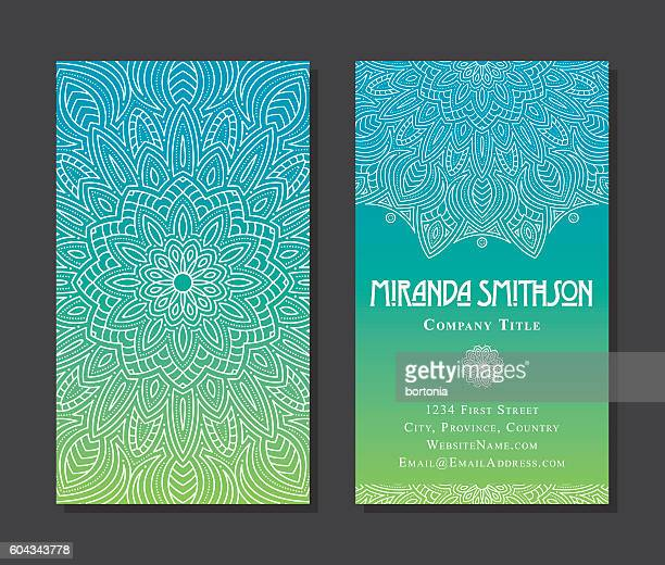 Ornate Circular Mandala Multicolored Business Card Designs