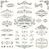 Ornate vintage design elements withcalligraphy swirls, swashes, ornate motifs and scrolls. Frames and banners. Vector illustration.