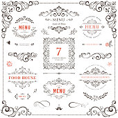 Ornate design elements set. Table numbers, wedding and restaurant menu templates. Vector flourishes, scrolls, frames.