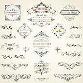 Ornate vintage design elements with calligraphy swirls, swashes, ornate motifs and scrolls. Frames and banners. Vector illustration.