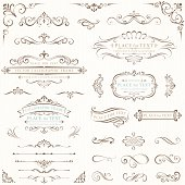A set of vector illustrations featuring retro scroll frames on an ivory background.  This set features more than 20 different items, some with room for text and some without.  There are small vertical