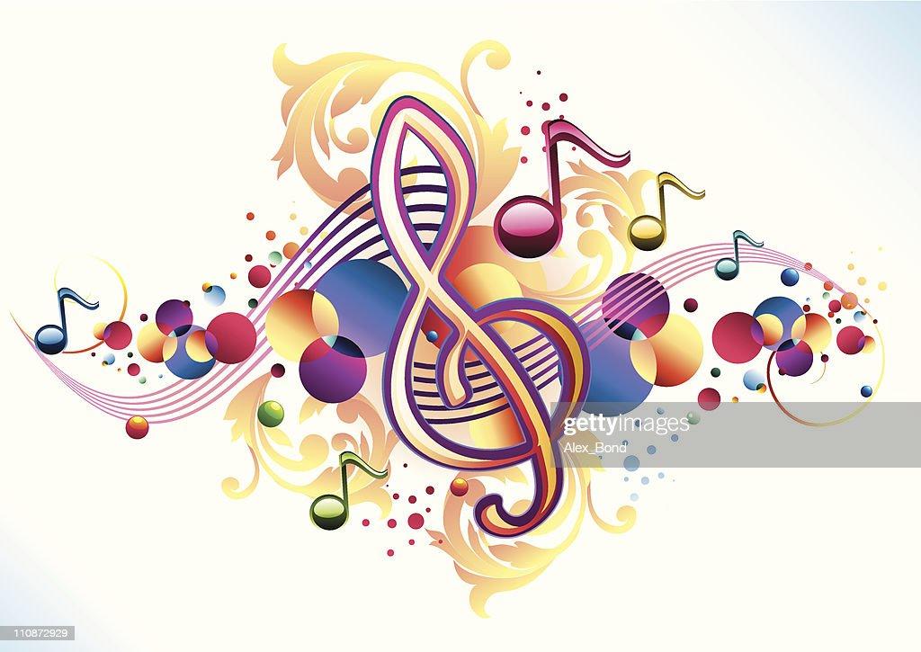 Ornate funky clef : Vector Art