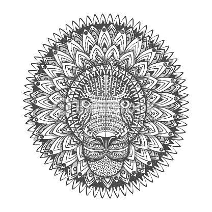 halicampus leão tatuagem desenho ilustração vetorial arte vetorial