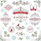 Ornate Christmas frames and swirl elements with Merry Christmas quotes and banners, snowflakes, tree, Holly Berry and bird.