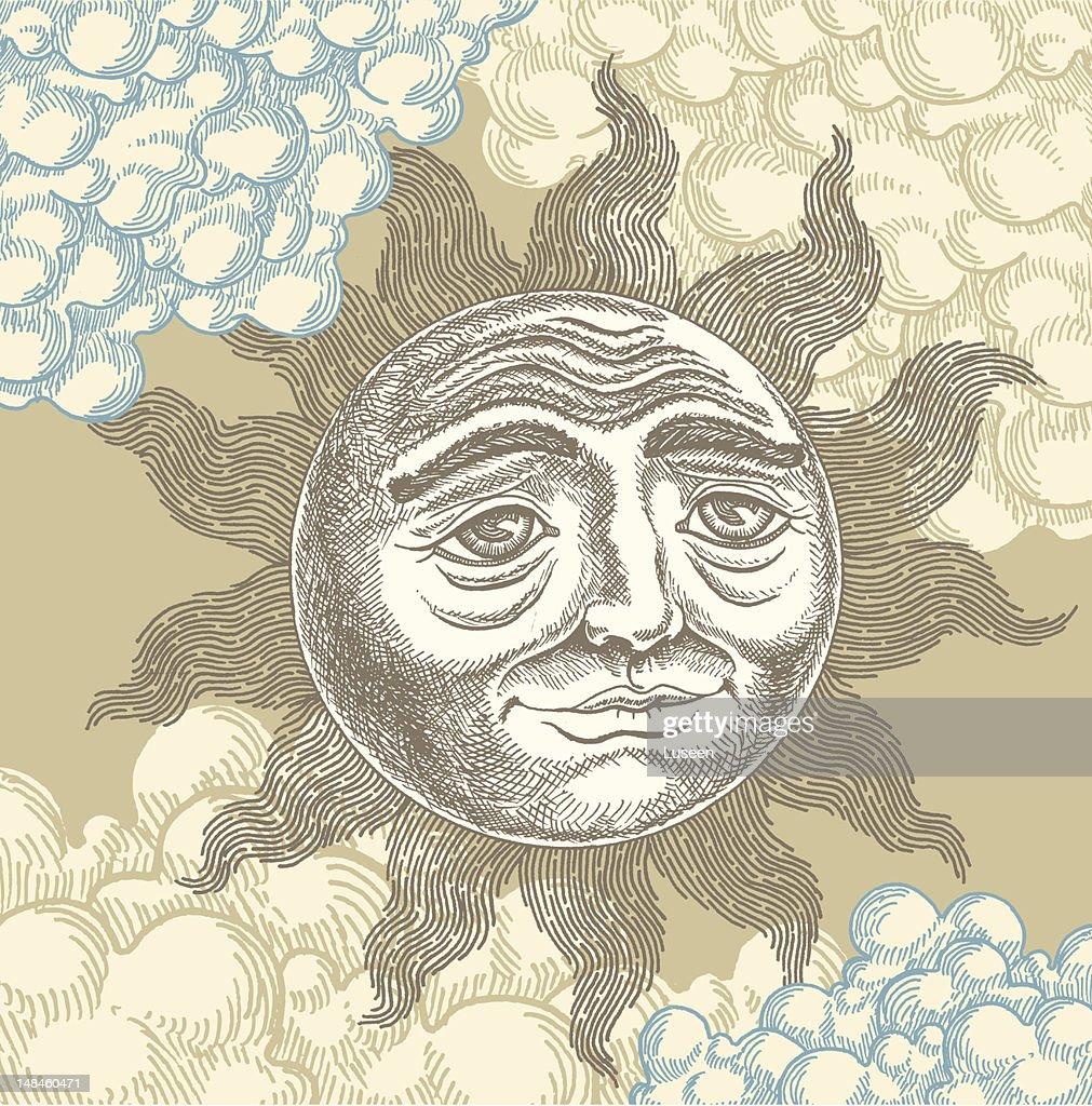 Ornate vintage sun face, woodcut style : Vector Art