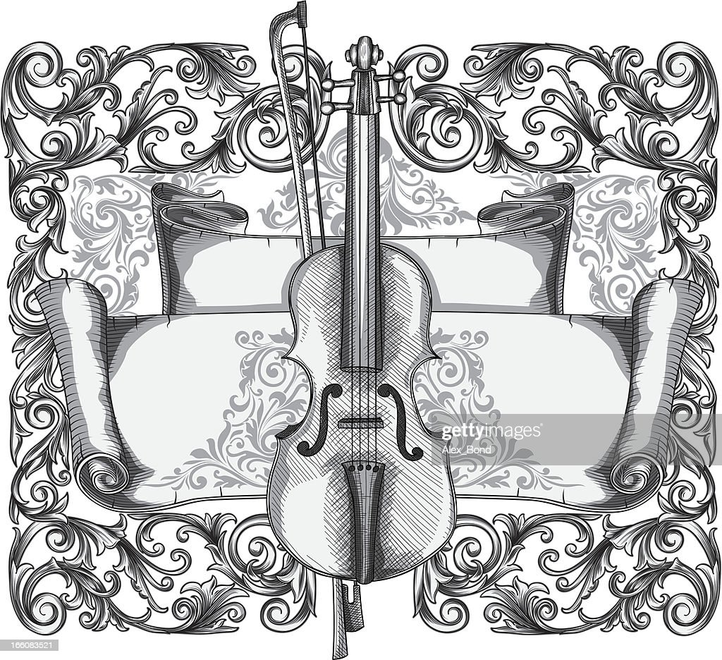 Ornate violin : Vector Art