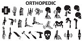 Orthopedic spinal joint bone human medical health care  flat icons. mono vector symbol