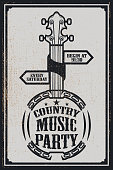 Сountry music party poster template. Vintage banjo on grunge background. Vector illustration