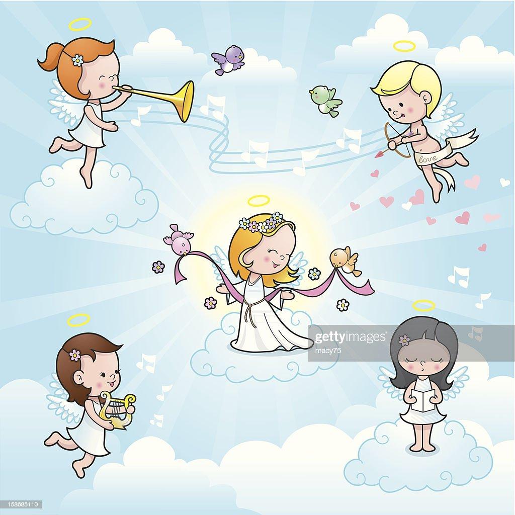 Our new angel cute kids celebration : Vector Art