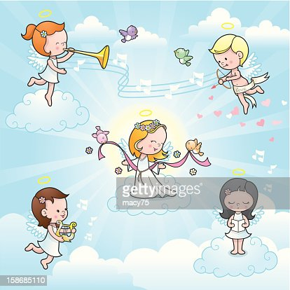 Our new angel cute kids celebration : Vector Art