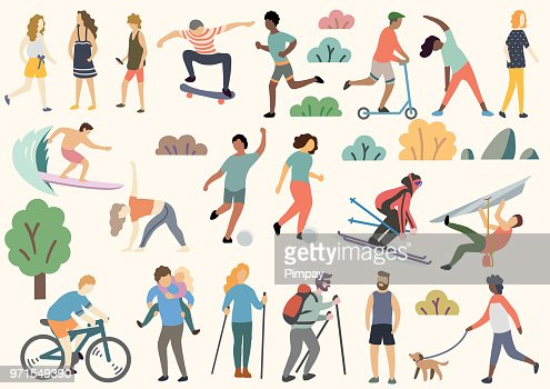 Outdoor activity illustration, doodle, drawing, vector : Vector Art