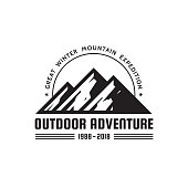 Outdoor Adventure - vector sign template concept illustration. Abstract mountains silhouette creative badge sign. Black & white design elements.