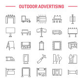 Outdoor advertising, commercial and marketing flat line icons. Billboard, street signboard, transit ads, posters banner and other promotion design element. Grey color. Trade objects thin linear sign.