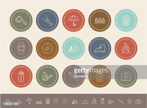 outdoor and camping icons : Vector Art