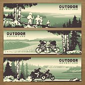 Outdoor thematic vector banner design with traveling people and great wild landscapes graphics.Brochure,flyer,booklet,card template for product promotion and advertising isolated on wood background