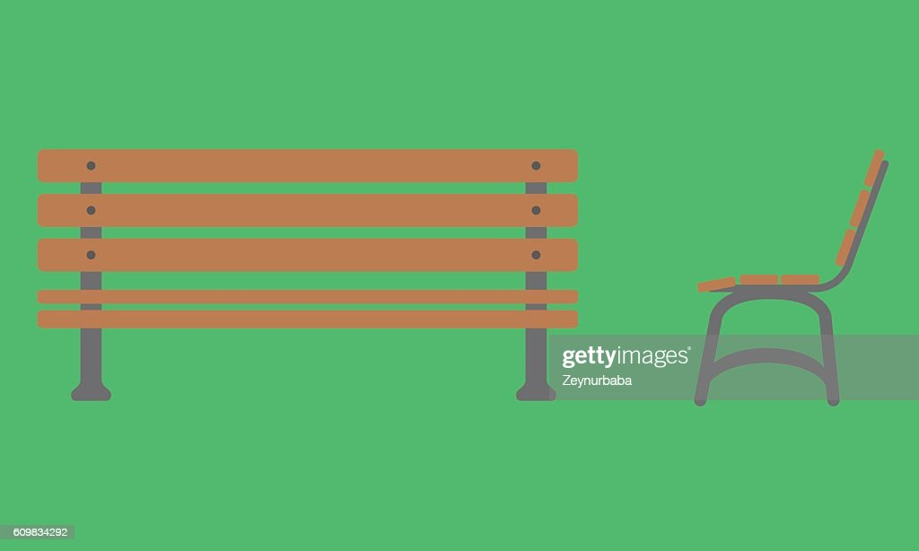 Outdoor Bench Icon With Front And Side View Vector Art