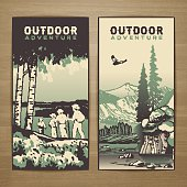 Outdoor thematic vector card design with traveling people and great wild landscapes graphics.Brochure,flyer,booklet,postcard template for product promotion and advertising isolated on wood background