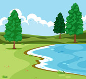Outdoor lake landscape scene illustration
