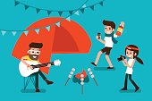 Outdoor Party People Flat design, Vector.