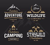 Set of vintage camping, outdoor adventure emblems. Vector retro labels. Logo design templates.