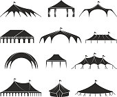 Outdoor shelter tent, event pavilion tents vector icons. Shelter black silhouette, marquee and pavilion canvas illustration