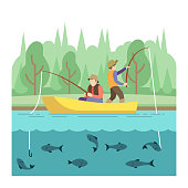 Outdoor summer activities. Fishing sport vector concept. Summer vacation fishing, illustration outdoor river boat