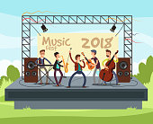 Outdoor summer festival concert with pop music band playing music outdoor on stage vector illustration. Performance musician with instrument, play musical