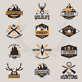 Outdoor tourist travel icon scout badges template emblem vector illustration collection. Mountains and rivers