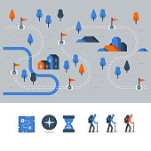 Hiking map, outdoor trail, countryside landscape, Nordic walking, orienteering concept, trail path with flags, nature park, vector icons, flat illustration