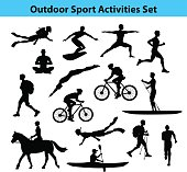 Outdoor Training Sport Activities. Male Silhouette.  Man Swimming, Trekking, Running, Cycling, Doing Yoga, Hiking, Diving, Kayaking, Stand up paddle boarding, Surfing, Scuba diving, Snorkeling, Horse