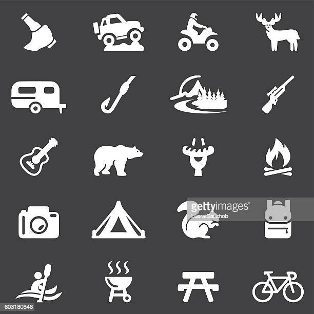 Outdoors and Adventure White Silhouette 20 Icons| EPS10