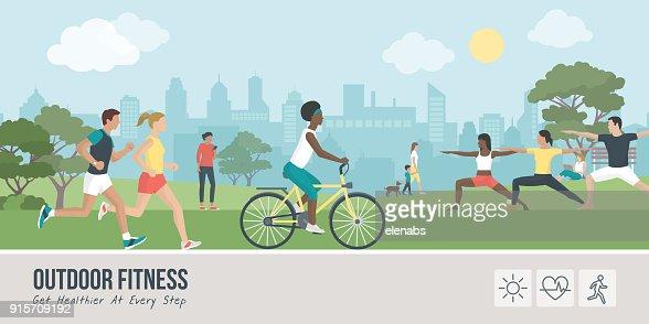 Sports et conditionnement physique en plein air : clipart vectoriel