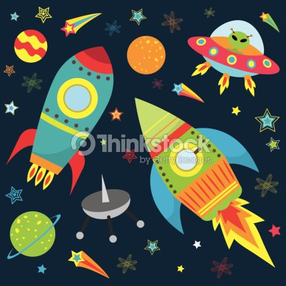 Outer space design set illustration vector art thinkstock for Outer space stage design