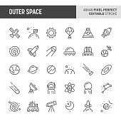 30 thin line icons associated with outer space with symbols such as planets, galaxies, solar system and space transportation are included in this set. 48x48 pixel perfect vector icon with editable str
