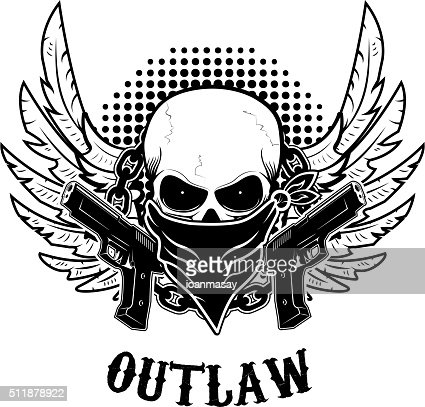 Outlaw Tshirt Print Design Template Skull With Two Guns