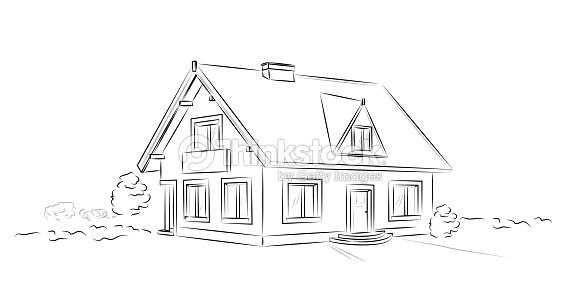 Outline Architectural Sketch Detached Tarditional House