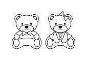 Coloring pages, Wild animals outline, Cute bear doll, vector illustration