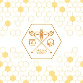 Honey label, tag, sticker design elements. Vector seamless background with honeycombs. Outline bee and honey dipper symbol. Concept for honey package, banner, wrapping. Abstract background.